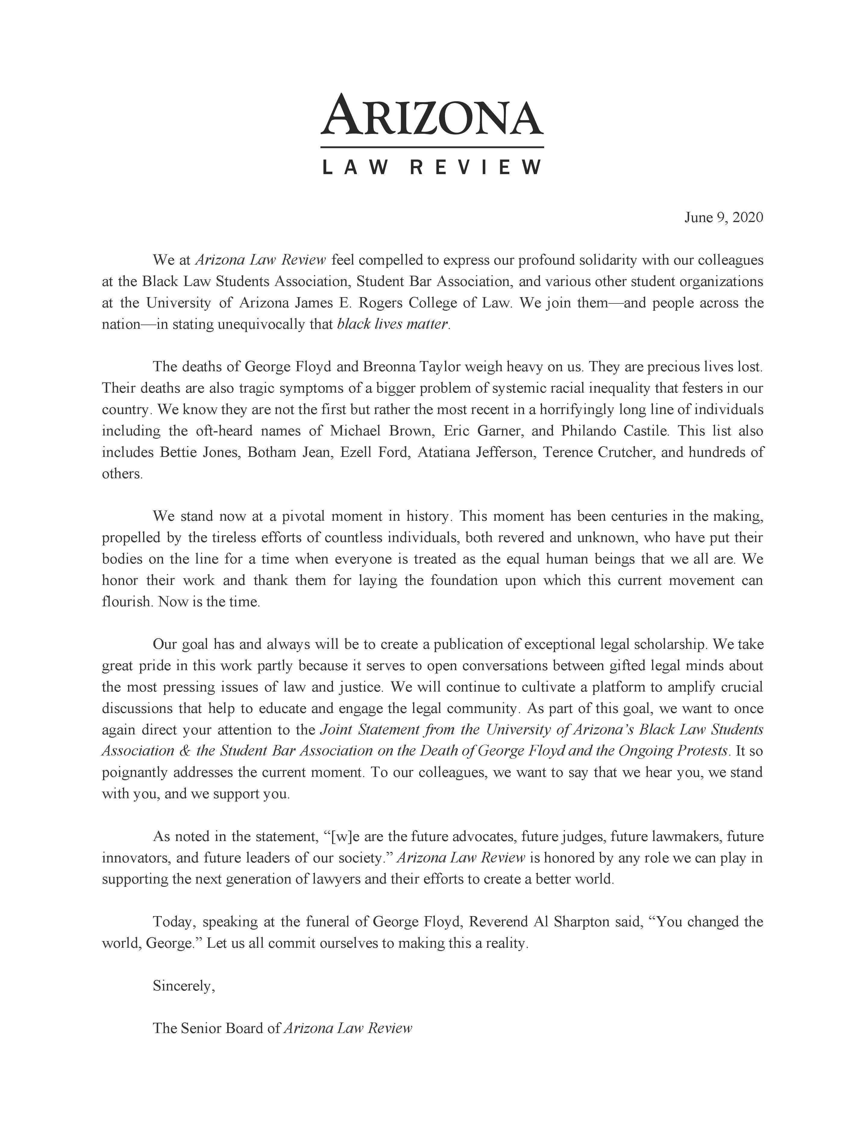 Arizona Law Review Statement of Solidarity