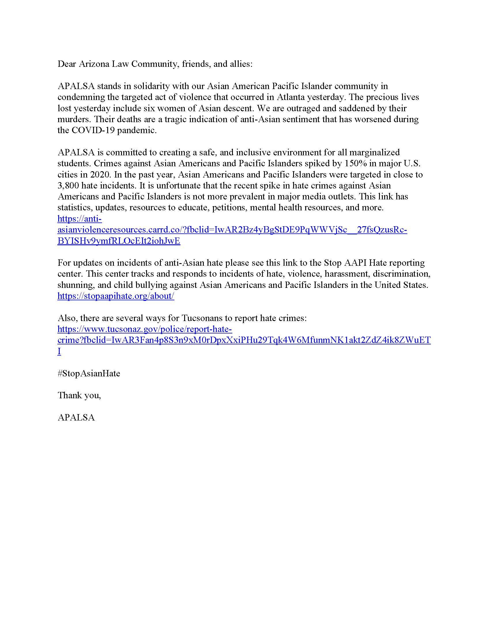 APALSA Statement of Solidarity Atlanta