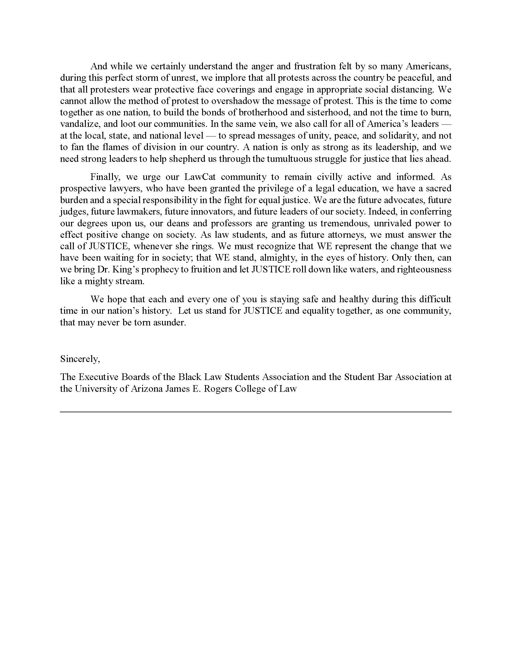 BLSA and SBA Statement