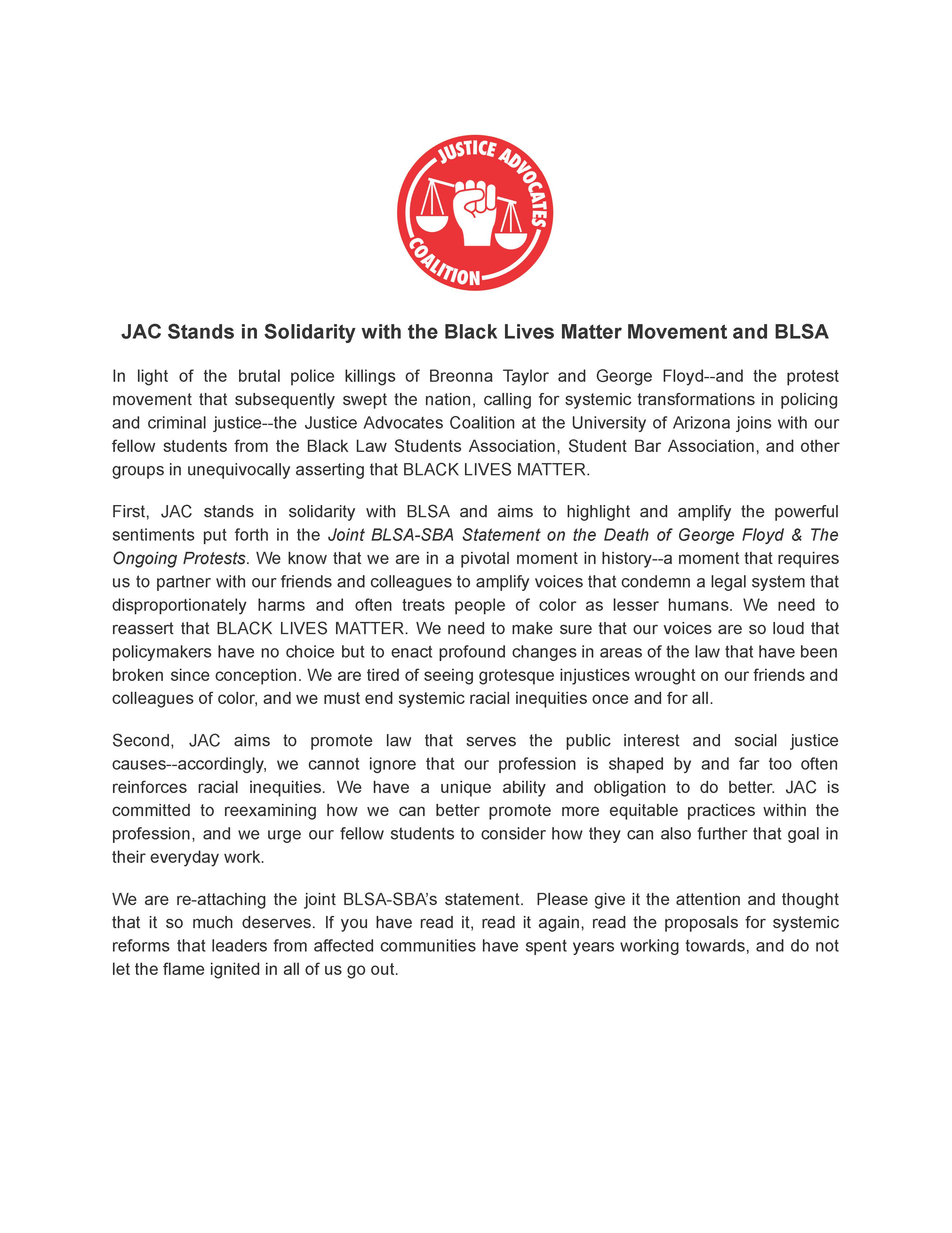 JAC Solidarity Statement