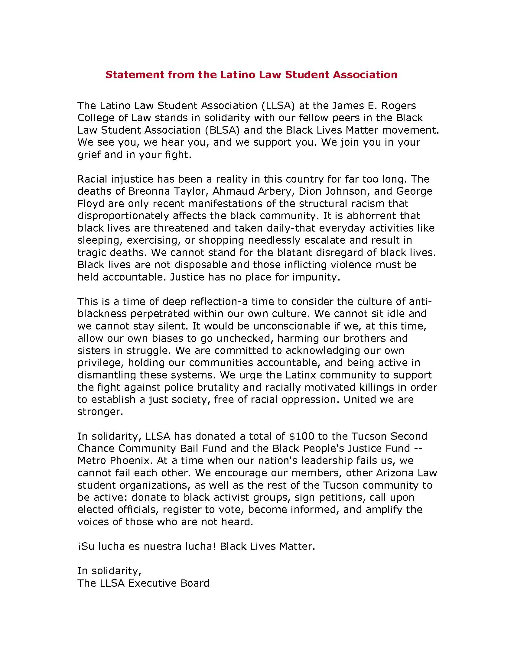 LLSA Statement of Solidarity