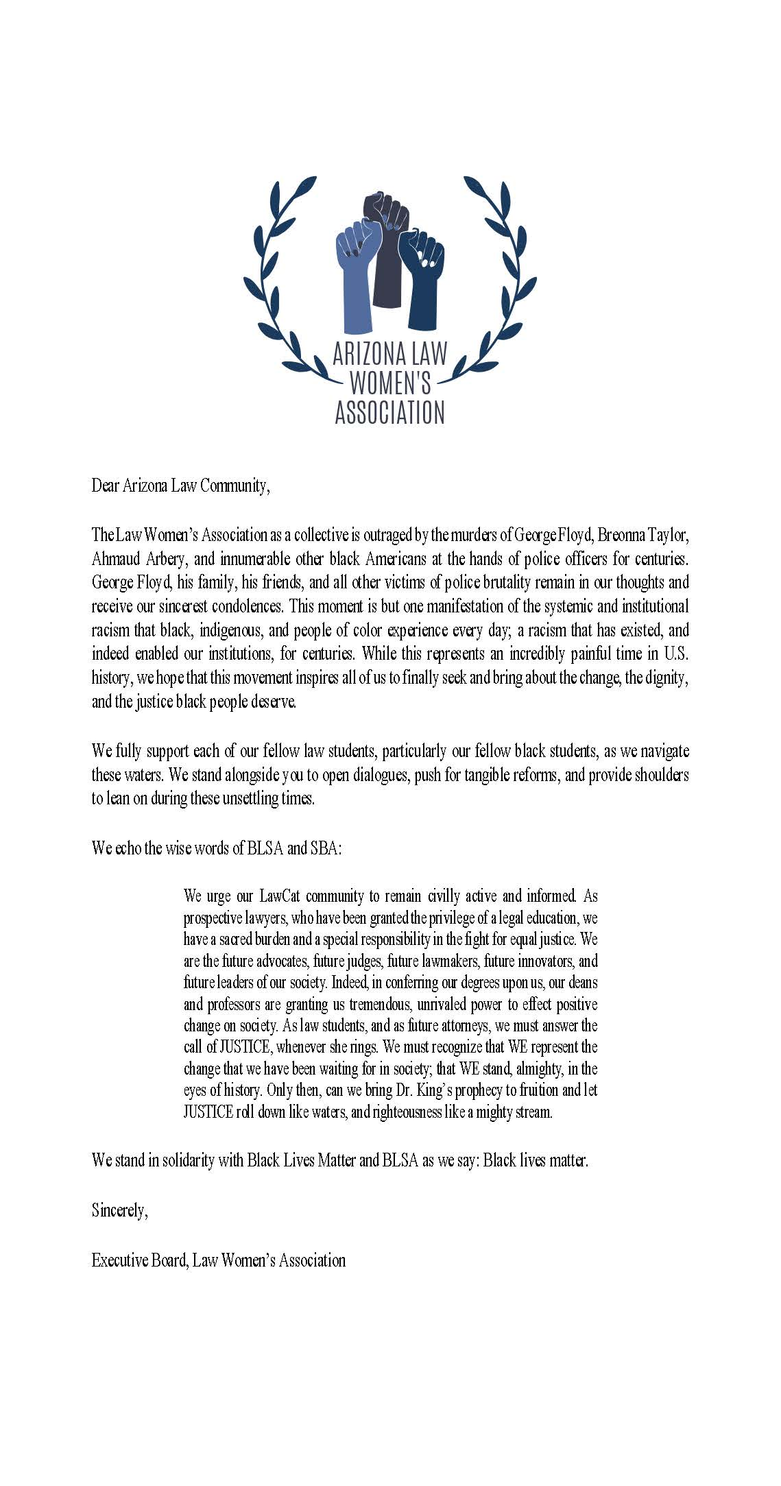 LWA Solidarity Statement