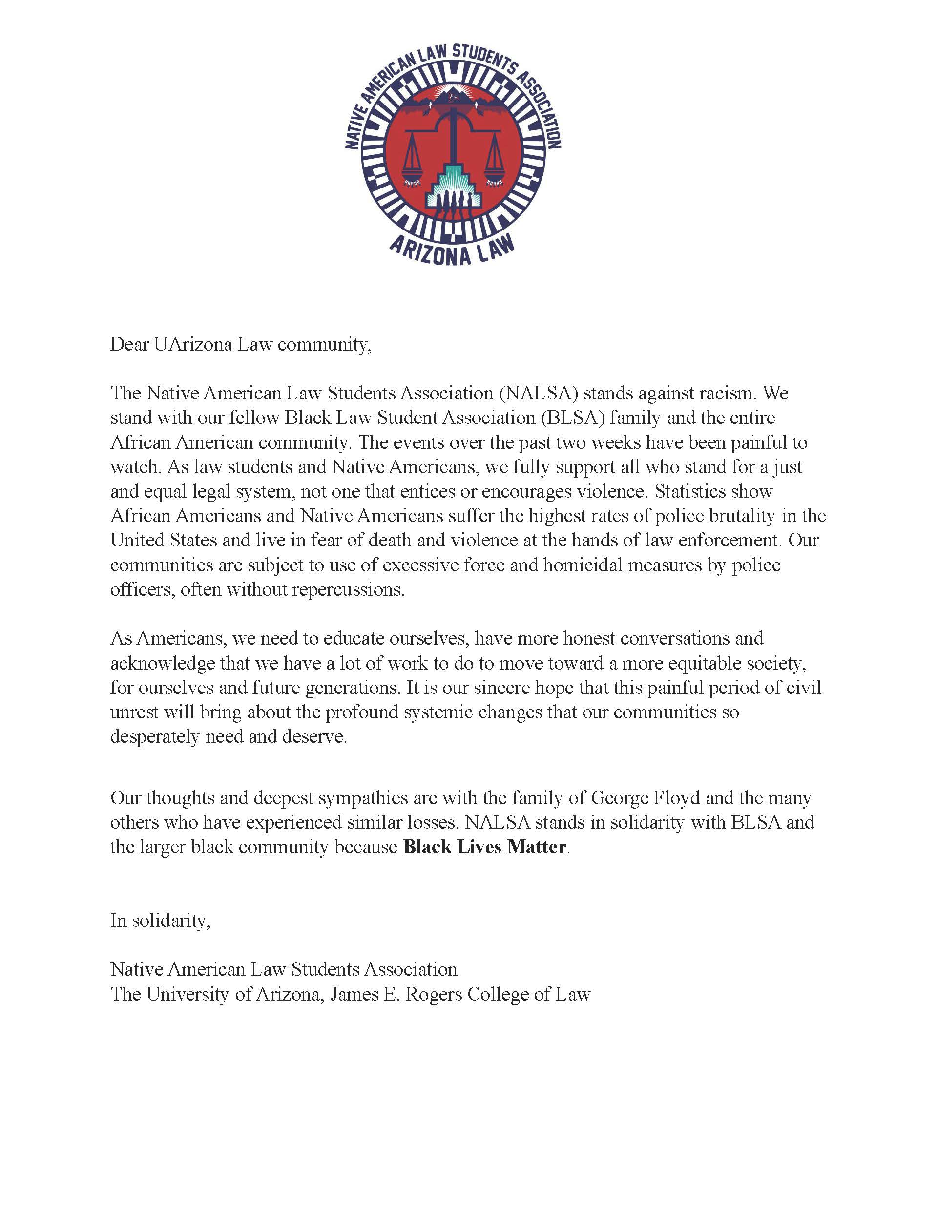 NALSA Solidarity Statement