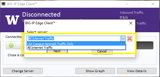 OnNet f5 BIG-IP Edge client drop-down option being changed to 'All Internet Traffic'