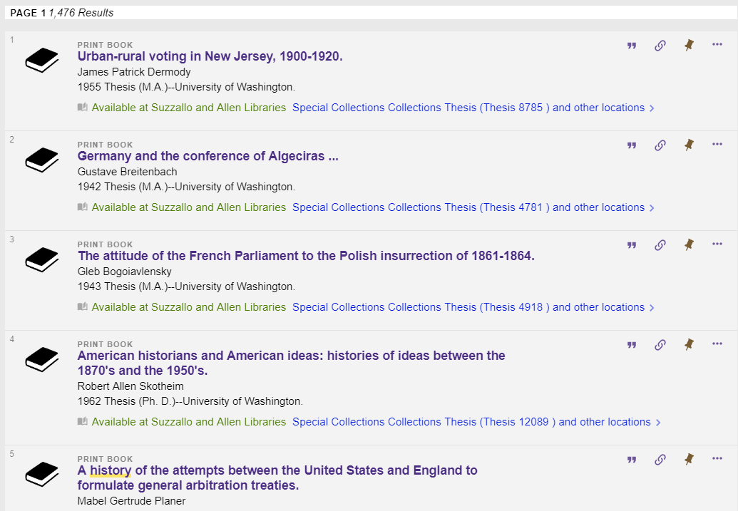 screenshot of search results for 'theses history'
