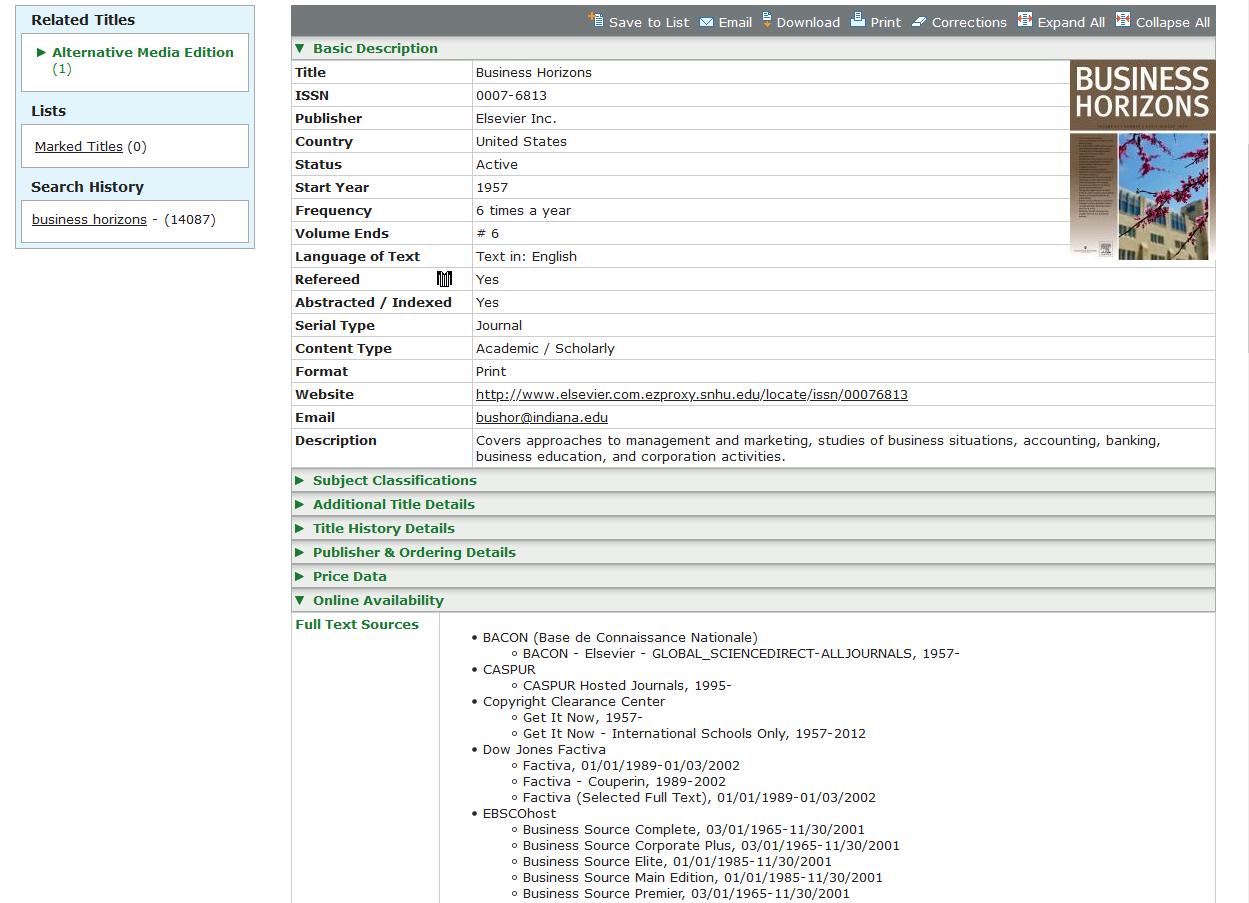 screenshot of ulrich's web menu
