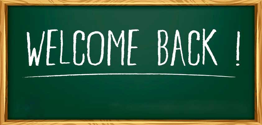 Chalk board image that reads Welcome Back!