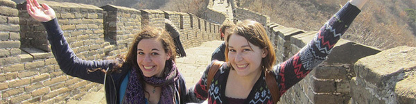 Two female GW students on the Great Wall of China