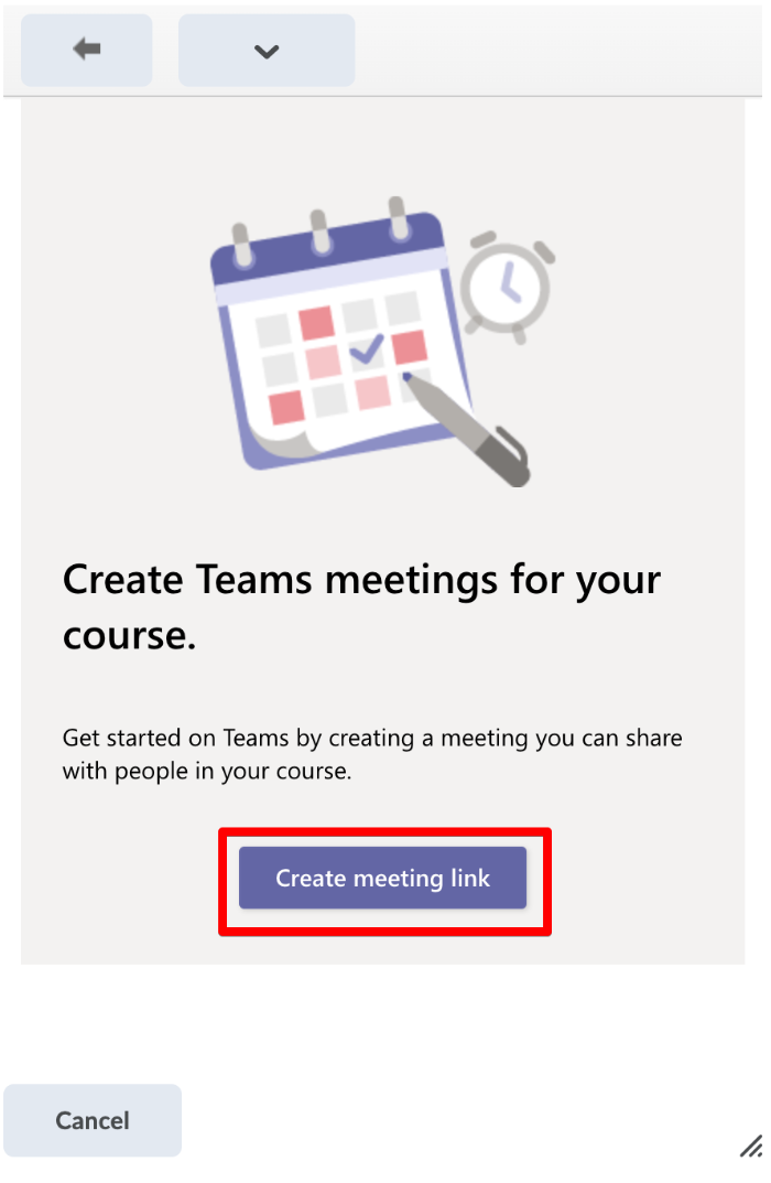 Select create meeting link