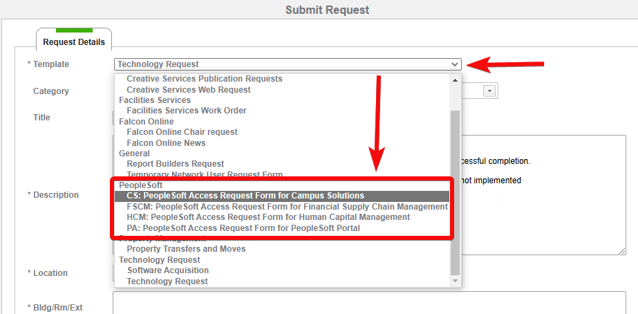 Choose the relevant PeopleSOft template