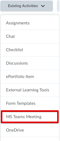 Insert MS Teams topic from the Exixting Activities button in a module