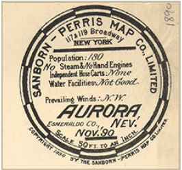Round label of map including information about population, steam & no hand engines, independent hose carts, water facilities, and prevailing winds.