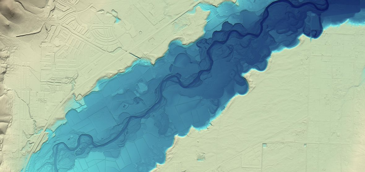 GIS Image of Lidar mapping of the Carson River near Dayton, Nevada, indicates flood history.