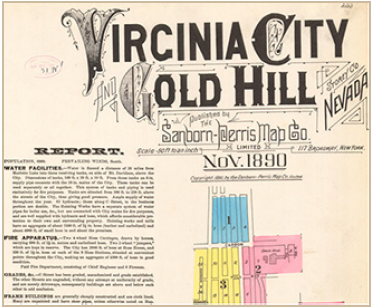 Hand drawn map with ornate lettering. Different section of the city are color coded and a report is provided alongside that includes information on water facilities and fire apparatus.