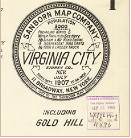 Sanborn map label including information about prevailing winds, water facilities, hose carts, truck, and population.