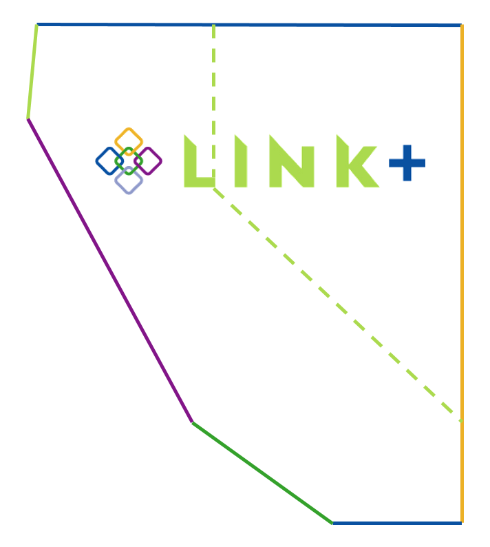 Outline of Link+'s coverage area. Line drawing of California and Nevada.