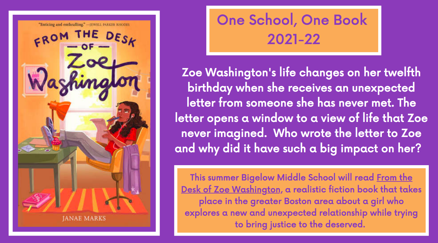 One School, One Book 2021-22: From the Desk of Zoe Washington Book Cover and Summary