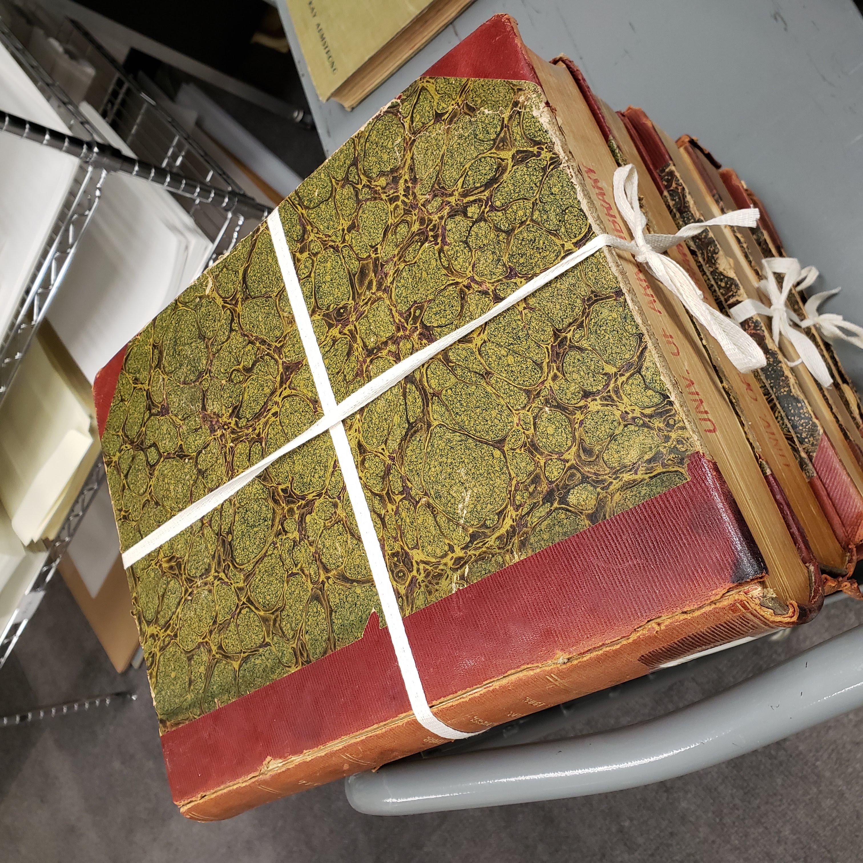 cloth ties around books