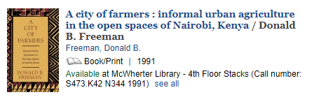A screenshot of a print book entry in the library's QuickSearch catalog.