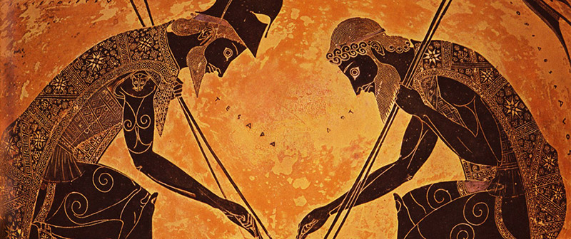 Greek vase with image of two warriors