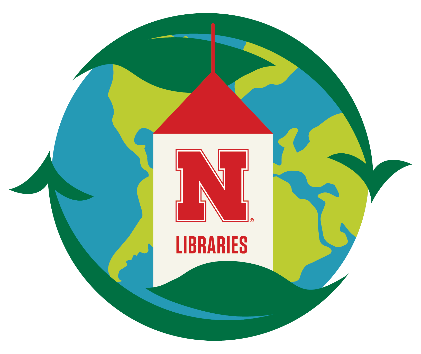 Earth Day image of work surround by circled of dark green leave with blue water, light green land masses and a white copula with red accents representing the Love Library copula.