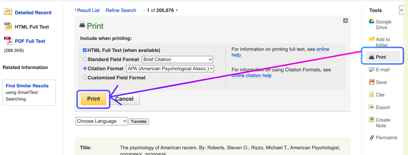 """Screenshot showing location of """"print"""" button in article tools menu."""