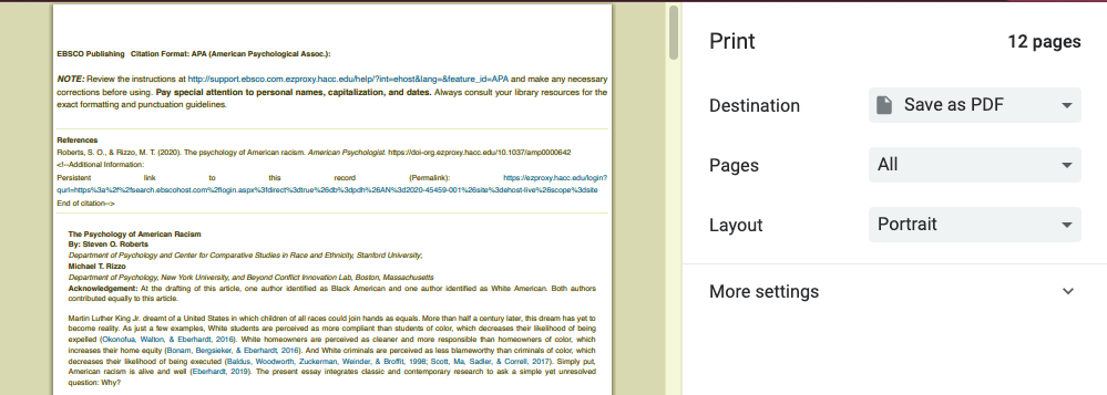 "Screenshot showing ""Save as PDF"" as a printer destination option"