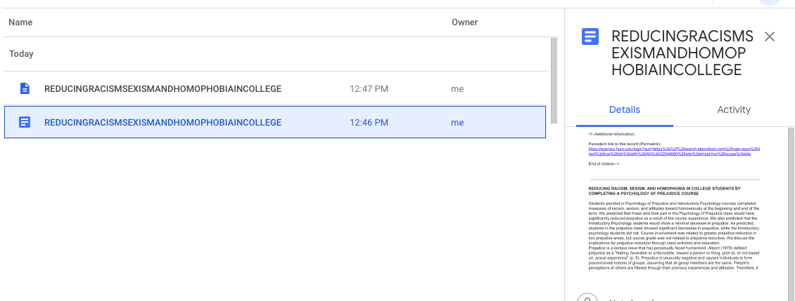 Google Drive  showing recent documents