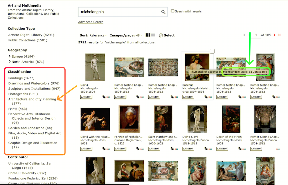 First column allows limiting by Classification, thumbnail images include Caravaggio