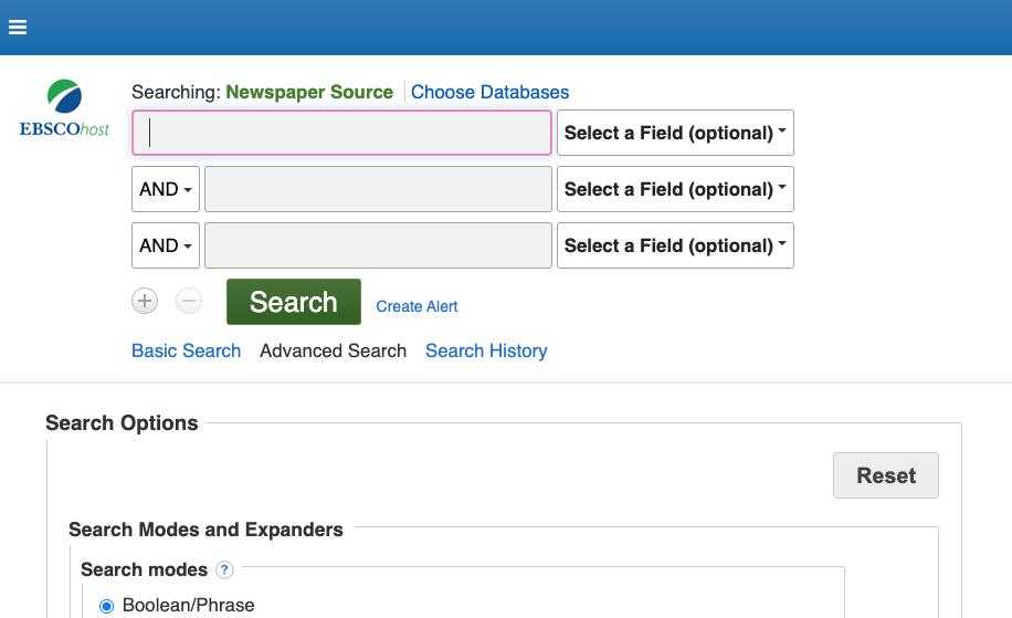 screenshot of interface