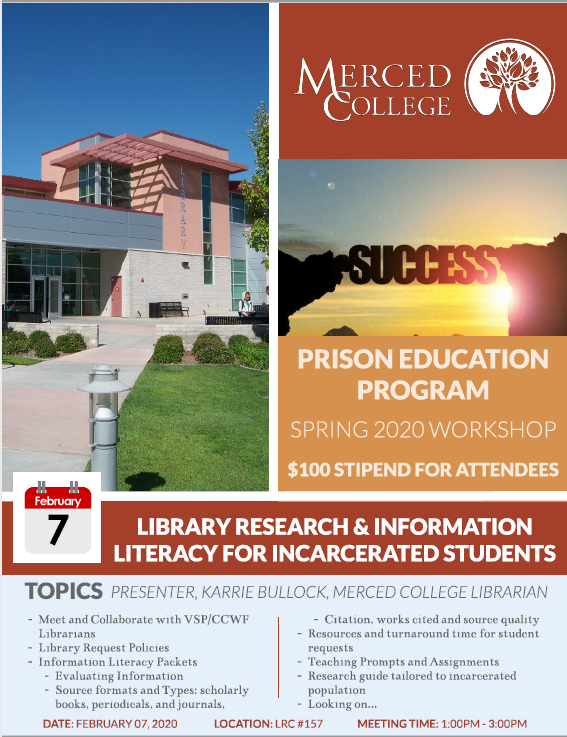 Workshop for Library and incarcerated students