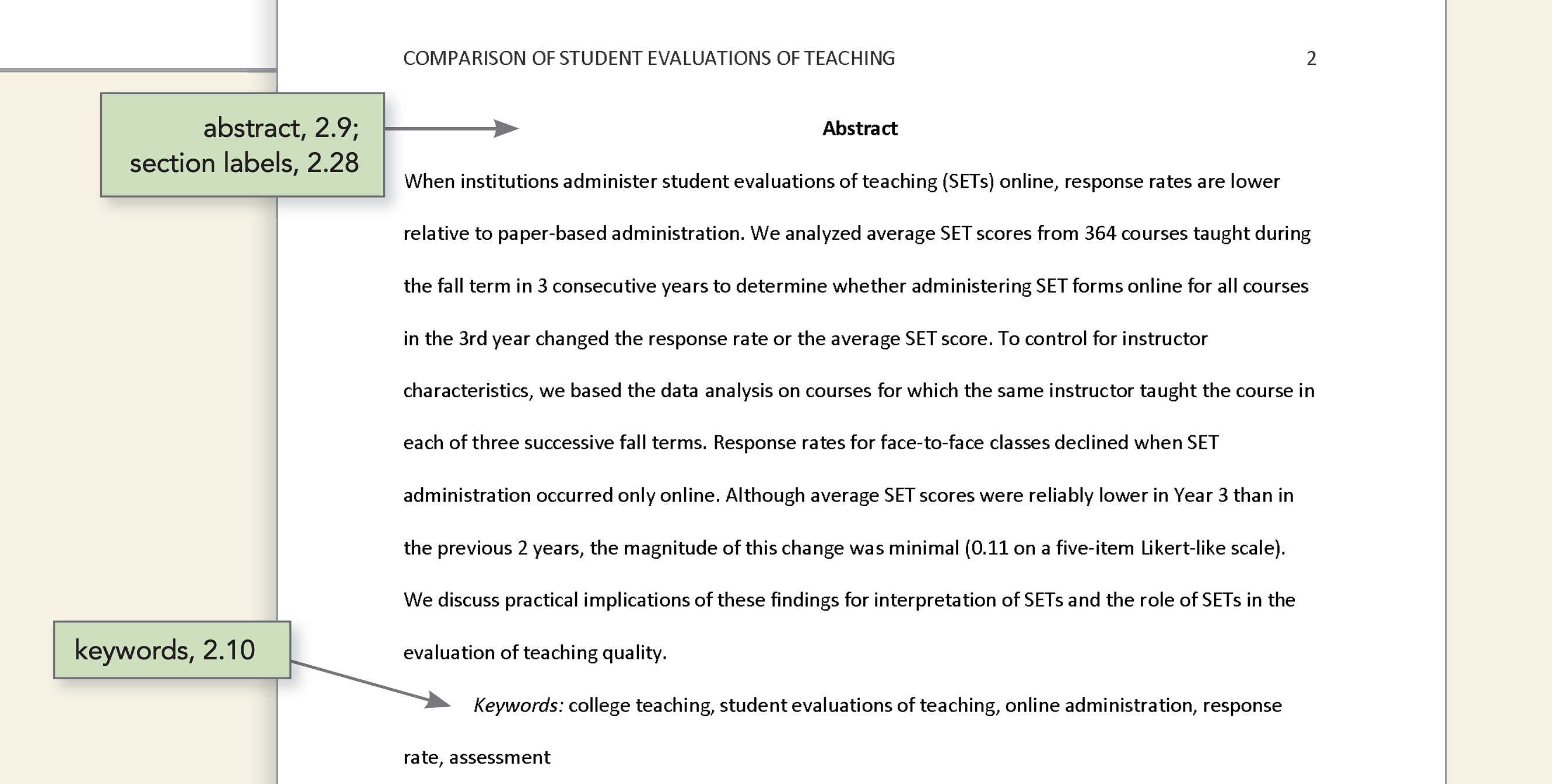 Sample APA Professional Paper Abstract. Click below image to go to APA Abstract Formatting Guide.