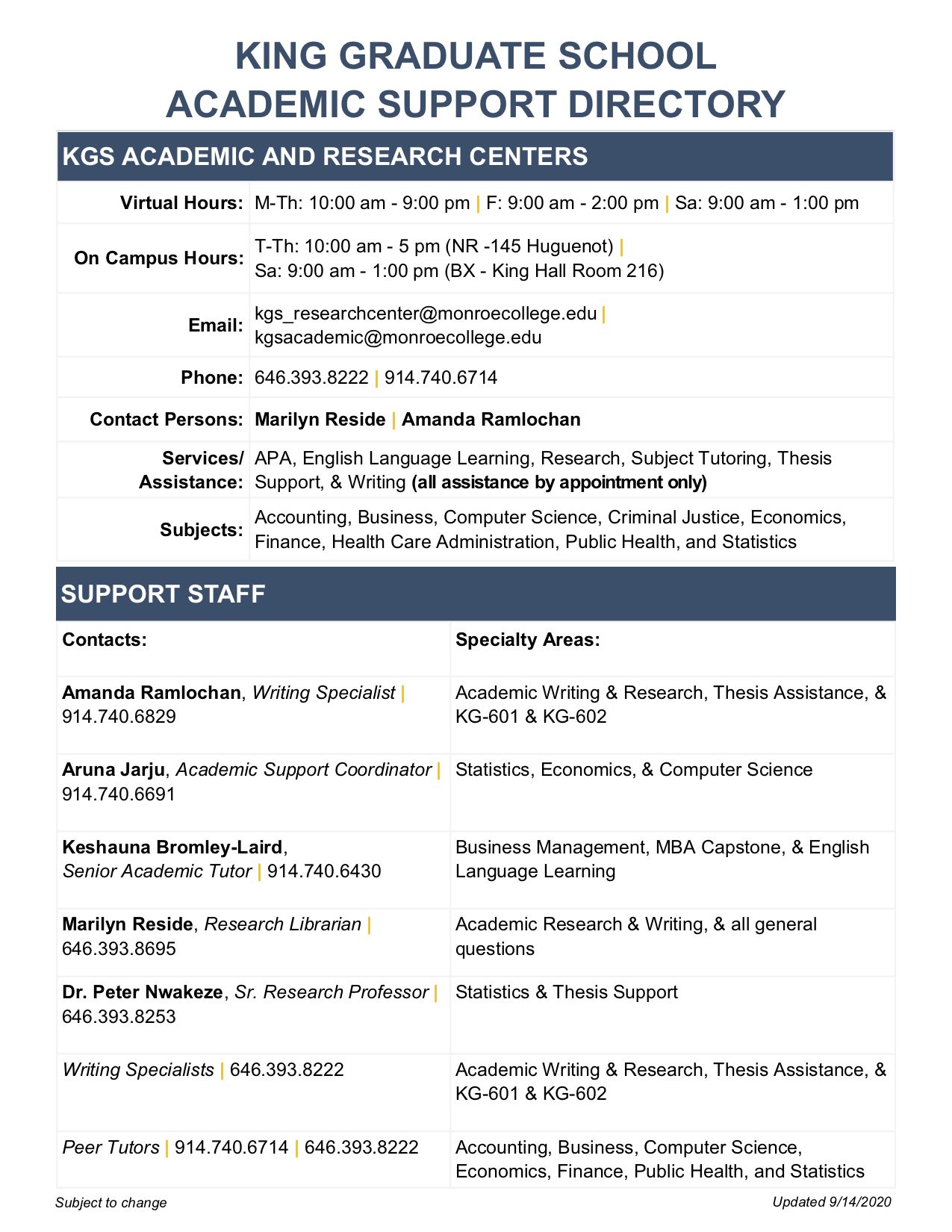 King Graduate School and Graduate Research Center Academic Support Directory