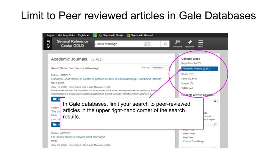 In Gale Databases, search limiters appear in the upper-right hand corner of your search-results screen.