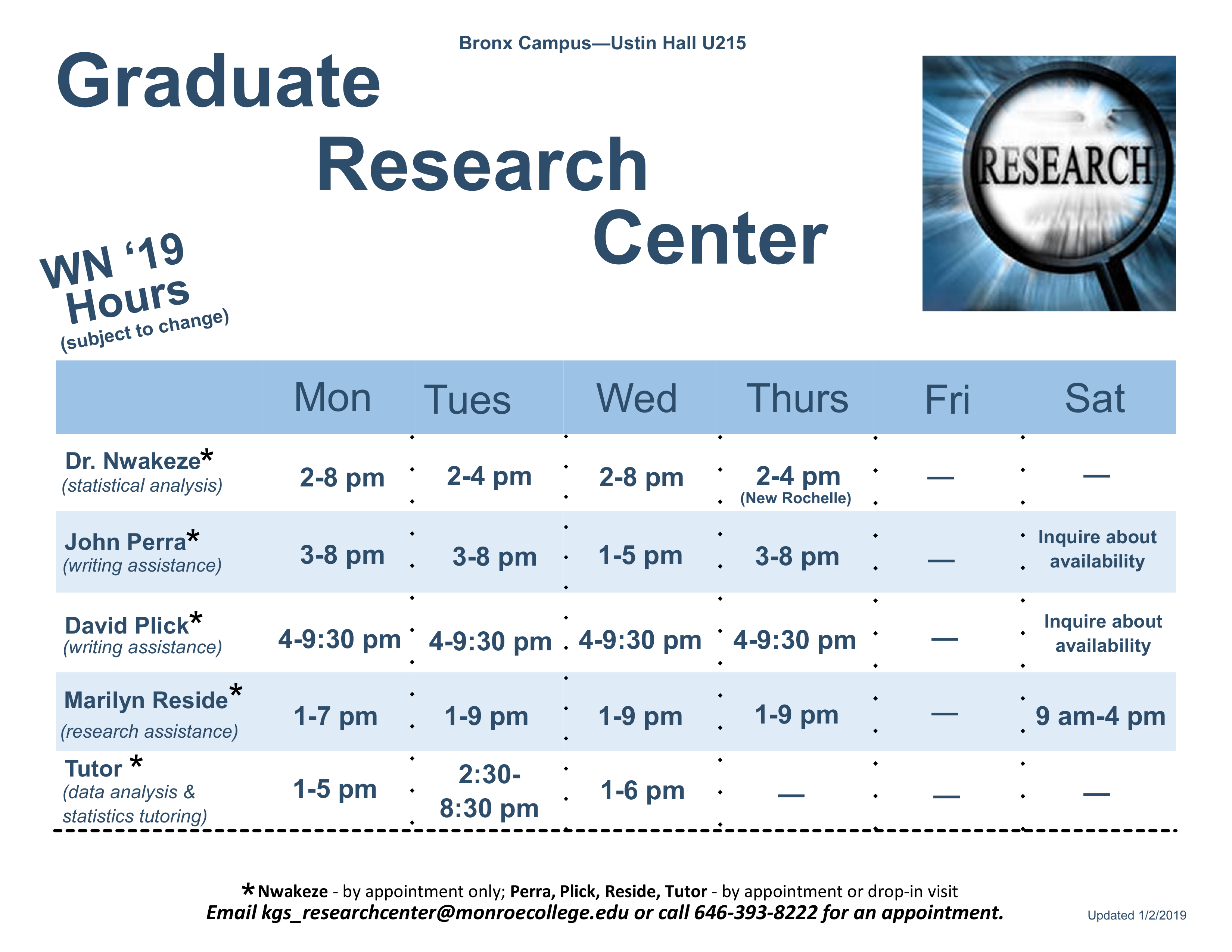 King Graduate Research Center Hours Winter 2019