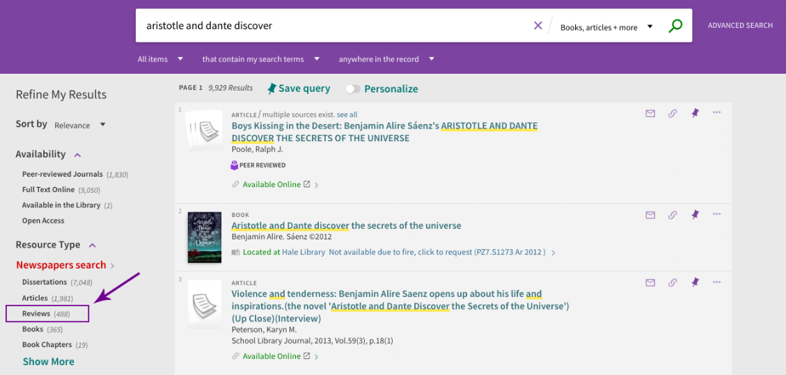 Screenshot of Search It option to refine results to reviews.