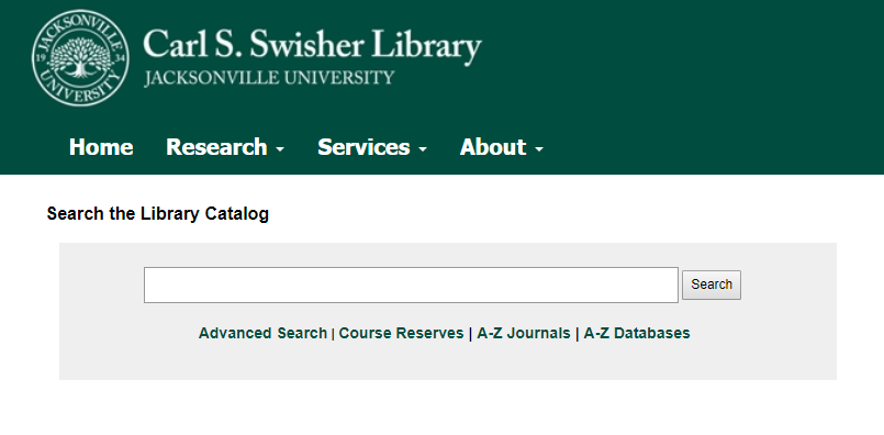 An image of the library website's catalog search box.