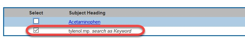 Ovid Medline Keyword Interface
