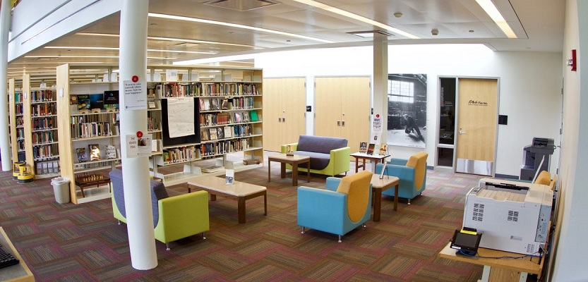 The Book Lounge provides a quiet space to read and browse the library's collection.