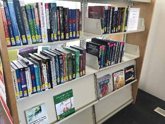 The library has a dedicated collection of health science books for in-library use.