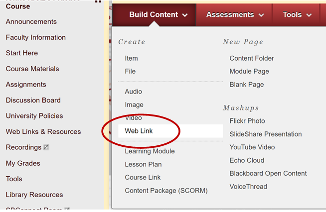 Ading Web link in the Build Content area.
