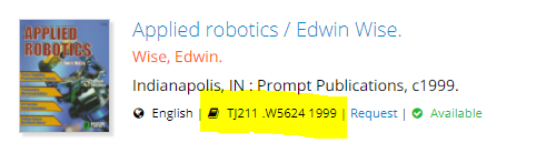 Highlighted call number in the Library Catalog