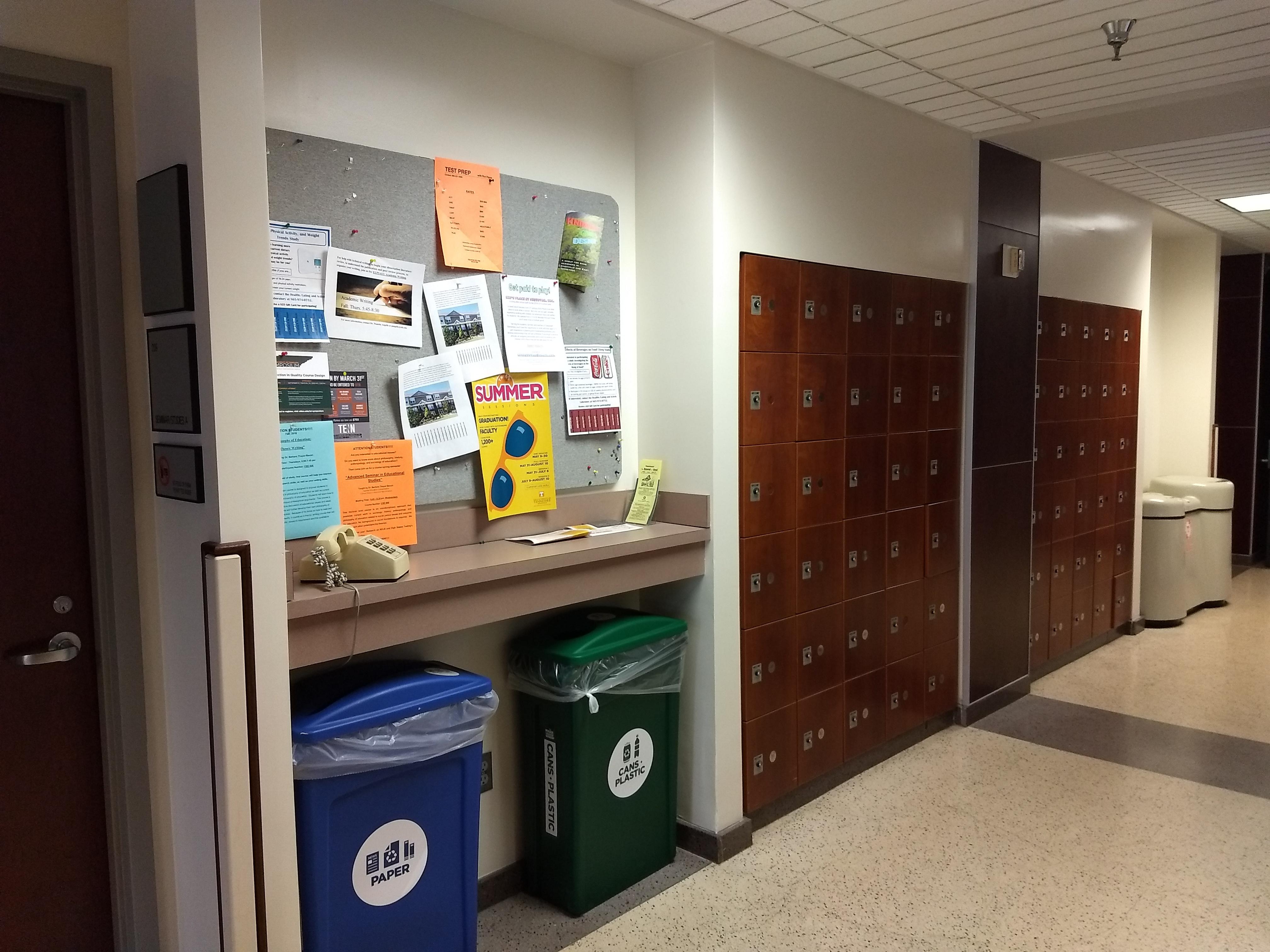 2nd floor lounge area near lockers