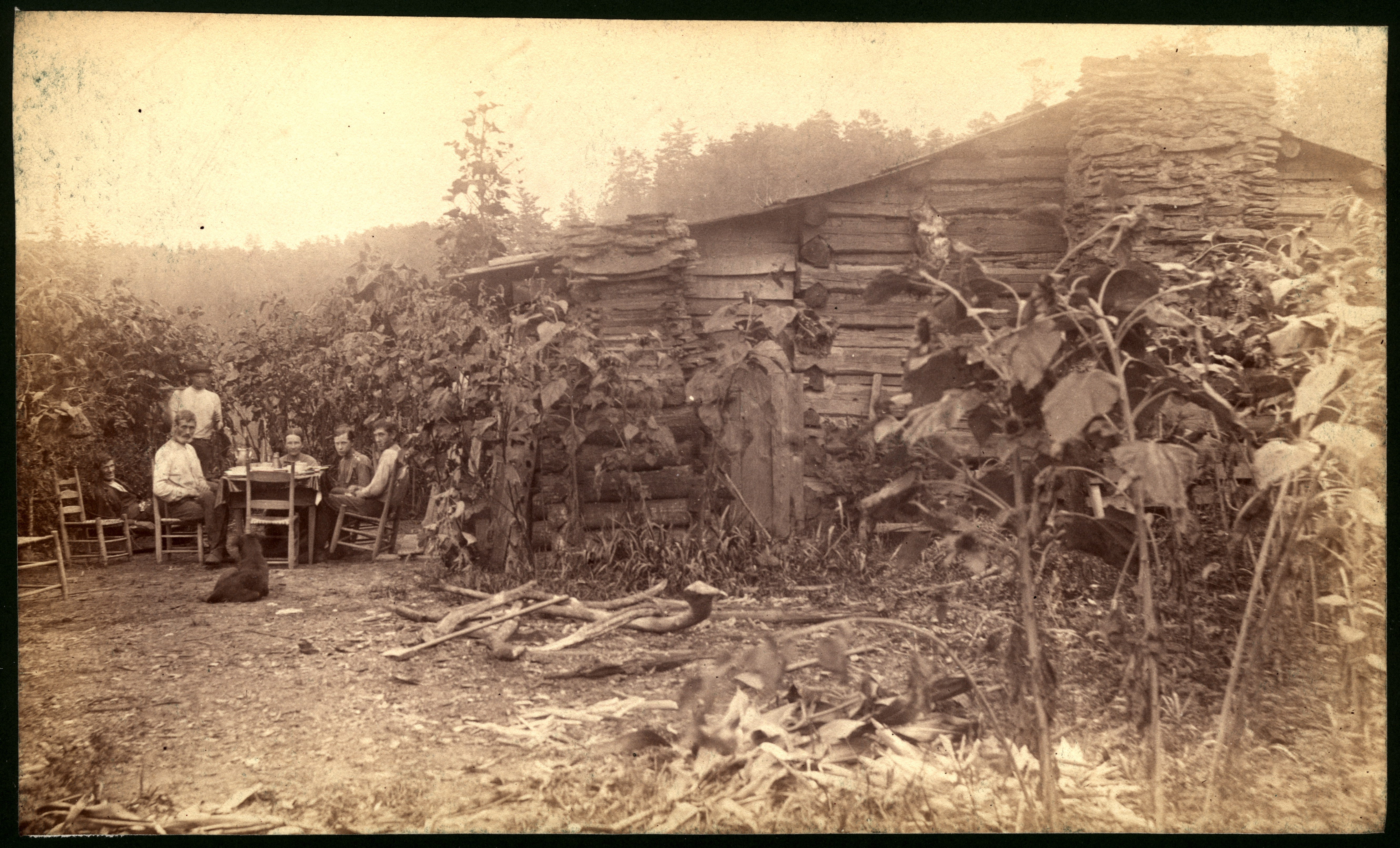 A.J. Dorsey's cabin. Family at breakfast