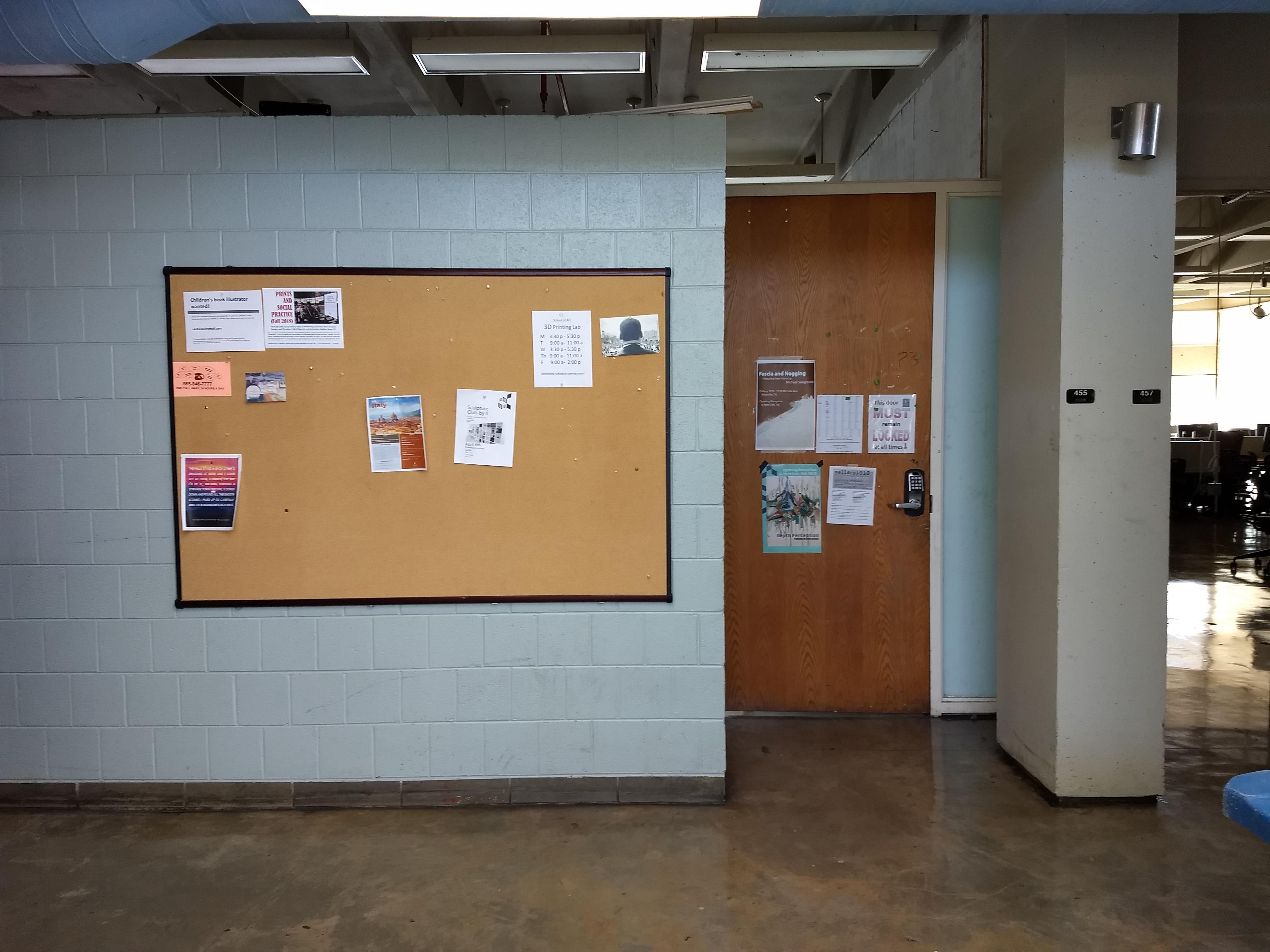 4th floor in corner next to room 455