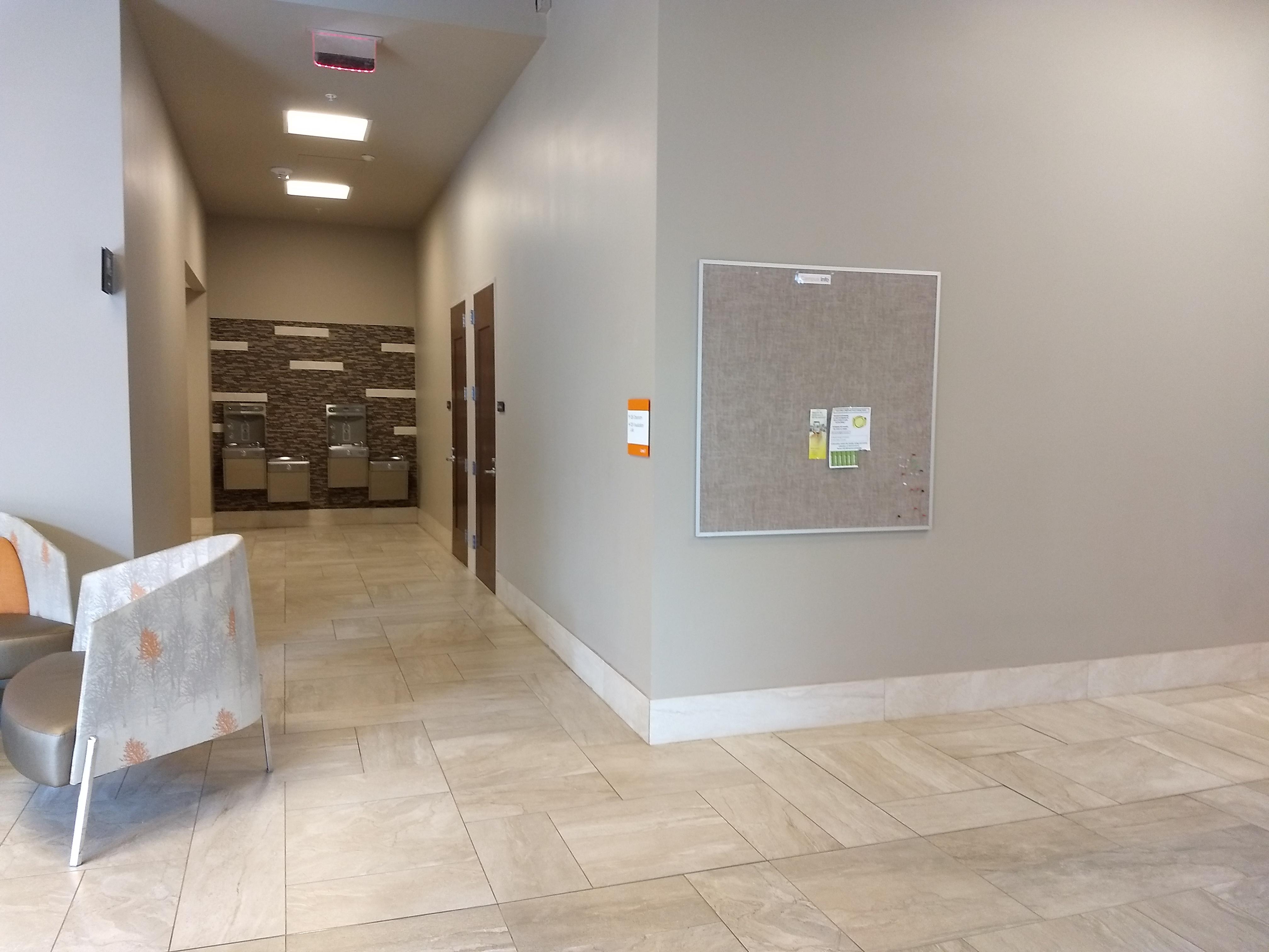 1st floor back exit near restrooms