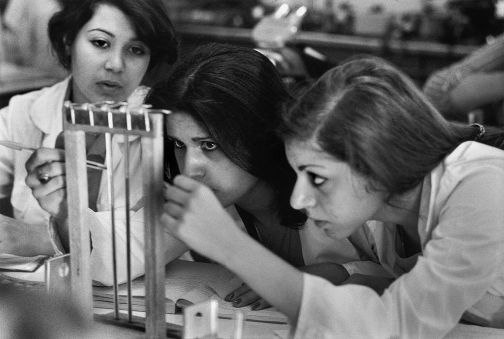 women students in chemistry lab iran 1977