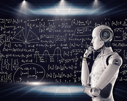 A robot contemplates a complex blackboard of equations and graphs