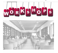Students in a classroom with a banner reading 'workshops' over the image