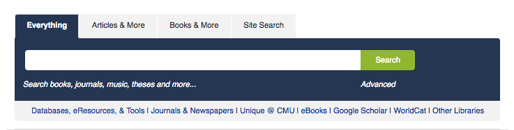 Screenshot of the Libraries home page main search box